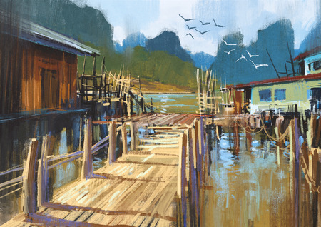 fishing village: landscape painting of fishing village in summer Stock Photo