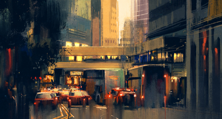 busy street: painting of city traffic jam on the street at evening