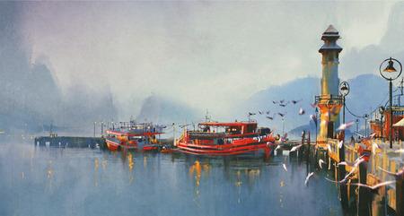 рыбацкой лодке в гавани утром, акварель стиль