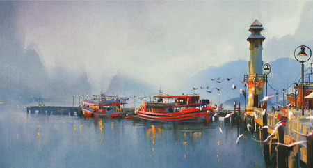birds scenery: fishing boat in harbor at morning,watercolor painting style