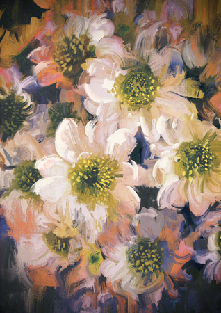 painting of abstract background of flowers