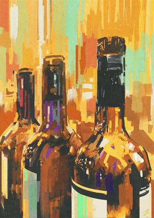 カラフルなイラスト、ワインのボトルと絵画 写真素材