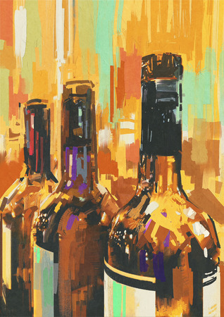 canvas painting: colorful painting with bottle of wine,illustration