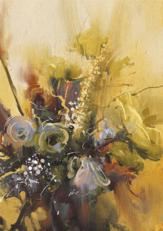 art painting: painting showing bouquet of beautiful flowers