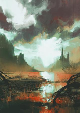 fantasie landschap van mystieke rode moeras bij zonsondergang