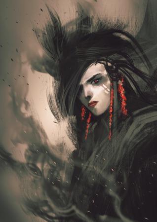 la peinture de belle femme avec des boucles d'oreilles rouges
