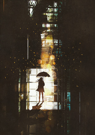 solitude: silhouette of woman with umbrella standing at window with bright light from outside,illustration painting