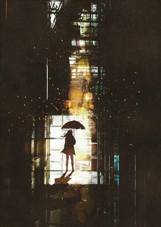 alone: silueta de mujer con paraguas de pie en la ventana con luz brillante desde fuera, ilustración pintura Foto de archivo