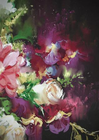 油絵風イラストで暗い背景に花束の花