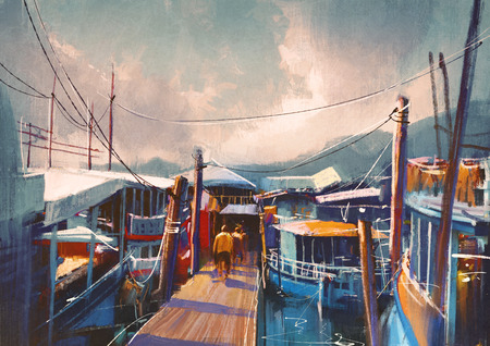 colorful painting of fishing boats in harbor in summer,