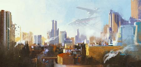 landschap het digitale schilderen van futuristische sci-fi stad met wolkenkrabber, illustratie
