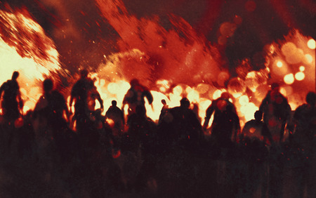 illustration painting of zombie walking through burning fire flames