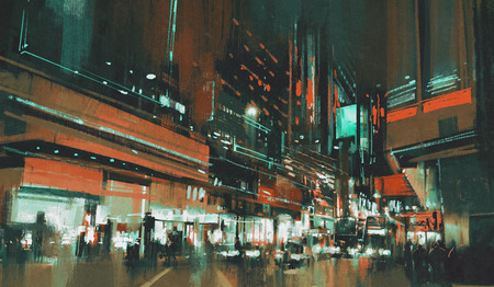landscape painting: painting of city street at night with colorful lights.