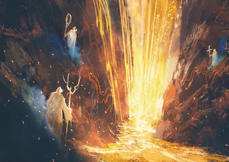 pintura rupestre: ejemplo de la pintura de los tres magos lanzar un hechizo en la cueva de lava