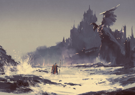 バック グラウンドでファンタジーの城の横にある海のビーチを歩く王のイラスト絵