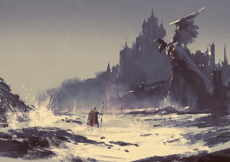 castillo medieval: ilustración pintura del rey caminando por la playa del mar, junto al castillo de fantasía en el fondo