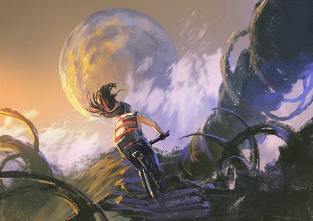 pintura abstracta: ilustración pintura del ciclista andar en bicicleta de montaña escalada en el pico rocoso