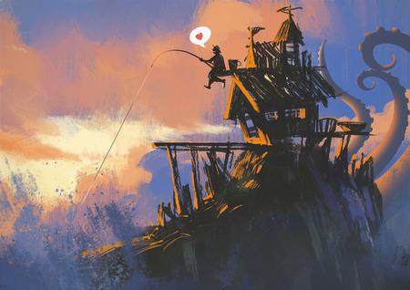 pescador: divertida ilustración pintura del pescador en una casa antigua con una caña de pescar tiene una gran captura