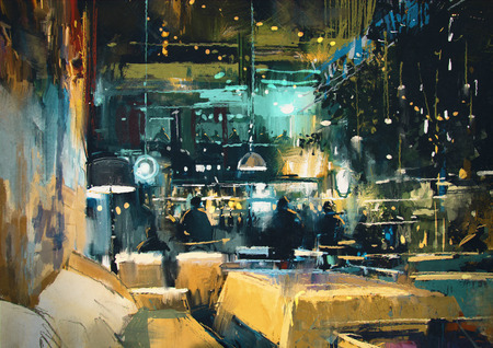 an oil lamp: pintura mostrando colorido interior de bar y restaurante por la noche Foto de archivo