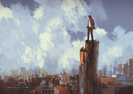 man outdoors: illustration painting of businessman stands on the peak looking at city Stock Photo