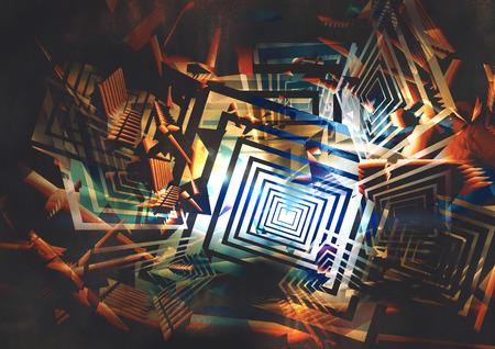 coiffer: fond coloré géométrique abstraite, peinture numérique Banque d'images