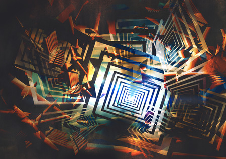 kleurrijke abstracte geometrische achtergrond, digitaal schilderen