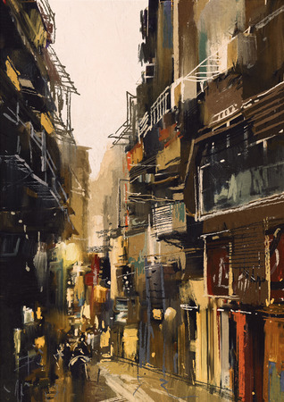 alleys: cityscape painting showing narrow alley with old buildings Stock Photo