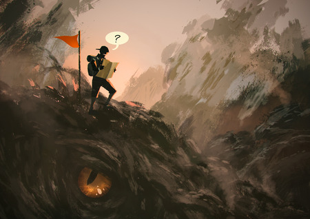 funny illustration painting showing lost hiker with backpack looking at map