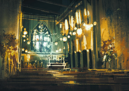 dramatic: beautiful painting showing interior view of a church and dramatic light Stock Photo