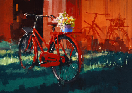 spring landscape: painting of vintage bicycle with bucket full of flowers