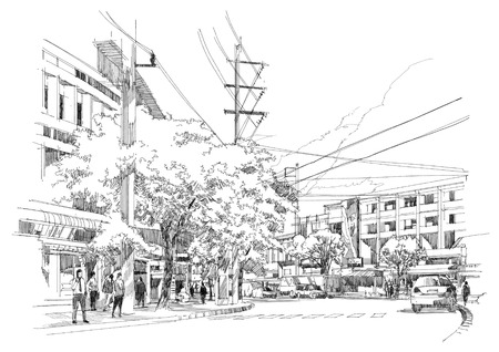 hand with pencil: sketch drawing of city street.Illustration.
