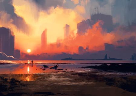 man op zee strand te kijken naar de wolkenkrabbers bij zonsondergang, illustratie painting