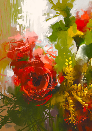 bouquet of red roses in oil painting style,illustration