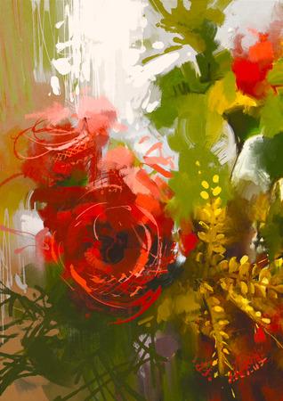 cuadros abstractos: ramo de rosas rojas en el estilo de la pintura al óleo, ilustración Foto de archivo