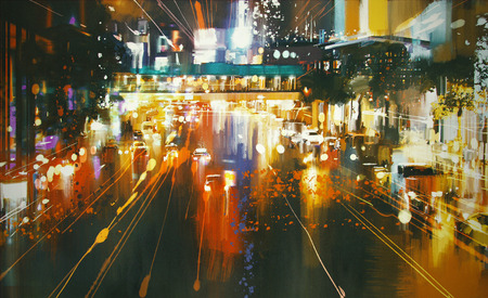 schilderij van auto koplampen en achterlichten op een stad straat 's nachts Stockfoto