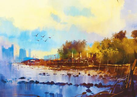 Seestück Aquarellmalerei der schönen Strand bei Sonnenuntergang Standard-Bild - 44399425
