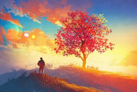 HOMBRE PINTANDO: paisaje de otoño con el árbol solo en la montaña, llegando concepto de hogar, ilustración pintura Foto de archivo