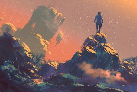 Mann, der auf der Spitze des Hügels in den Sternenhimmel, illustration painting Lizenzfreie Bilder