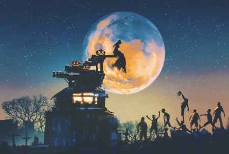 storia d'amore della sposa durante la notte di Halloween, illustrazione pittura