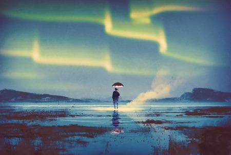 Northern lights Aurora boreal sobre el hombre lleva a cabo luces paraguas, ilustración pintura Foto de archivo