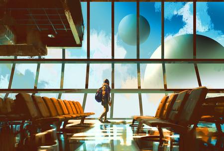 絵画の図の窓から惑星を探して空港で歩く少女 写真素材