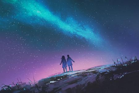 joven pareja de pie de la mano contra la Vía Láctea, ilustración pintura