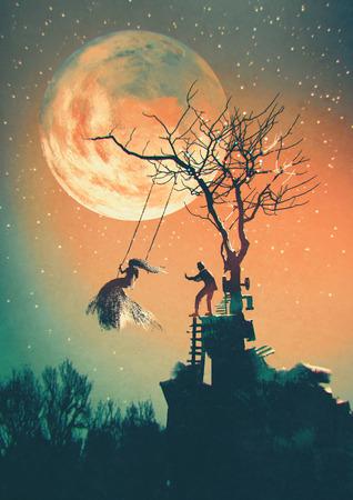 Fondo de la noche de Halloween con el hombre empujando a la mujer en el oscilación Foto de archivo