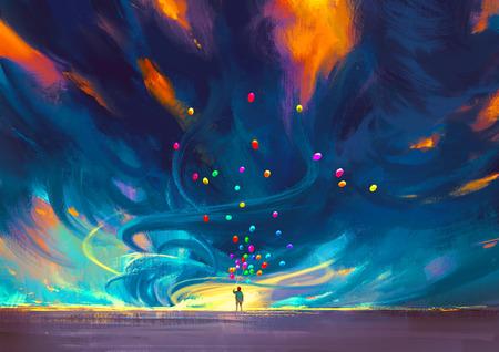 ребенок держит воздушные шары, стоящих перед бурей фэнтези, иллюстрации живопись