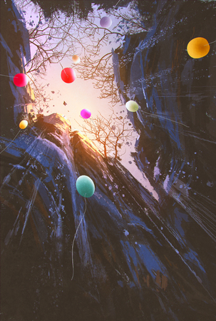 cliff edge: painting of colored balloons floating into the sky surrounded by the cliffs