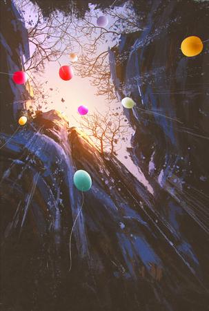 pintura de balões coloridos que flutuam no céu cercado por penhascos