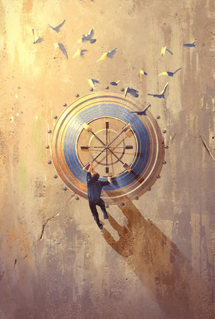 painting on wall: man climbing on stone wall trying to open safe,illustration painting