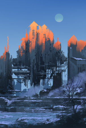 sci fi: landscape painting of abandoned building at sunset