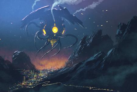 Sci-fi scene.Alien schip binnenvallende nacht stad, illustratie schilderij Stockfoto - 45175403