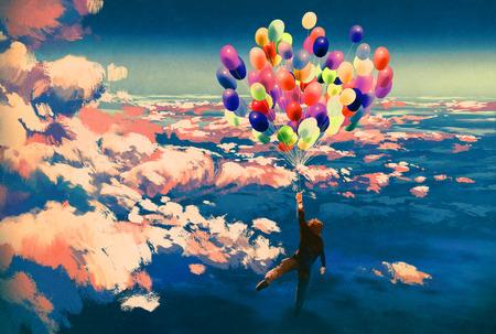 男子用五顏六色的氣球在美麗的陰雲密布的天空飛行,插圖繪畫 版權商用圖片